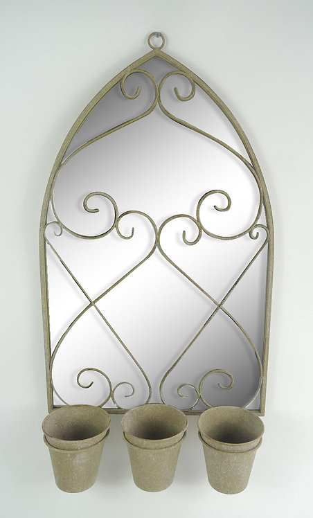73CM RUSTY WALL MIRROR WITH TRIPLE PLANTER