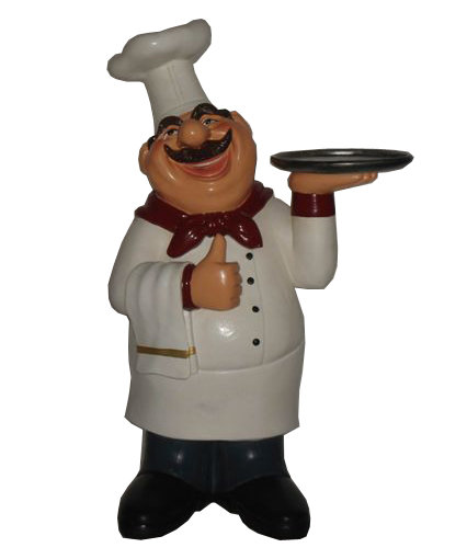 62CM RESIN CHEF WITH TRAY