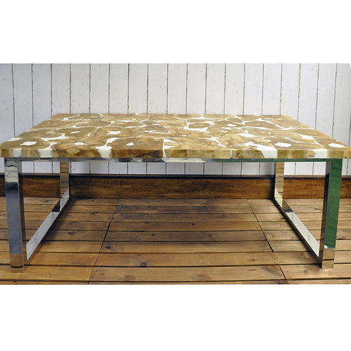 160X90X78CM RESIN TOP DINING TABLE