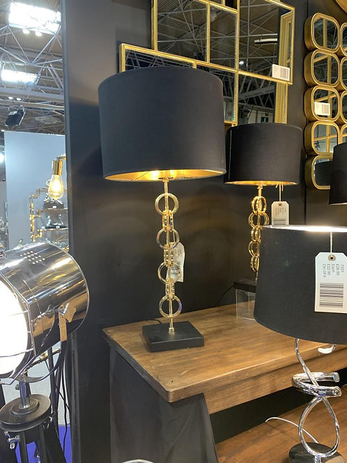 53CM GOLD LAMP AND BLACK SHADE