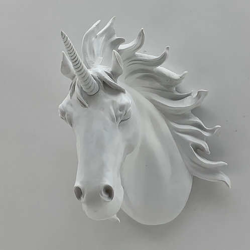 50CM WHITE UNICORN HEAD