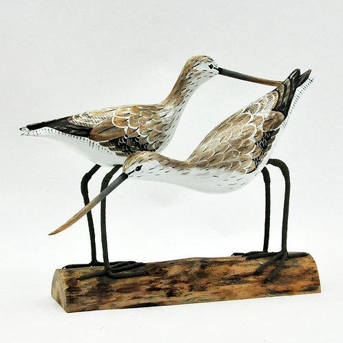 TWO GREENSHANK BIRDS 25x45x8cm
