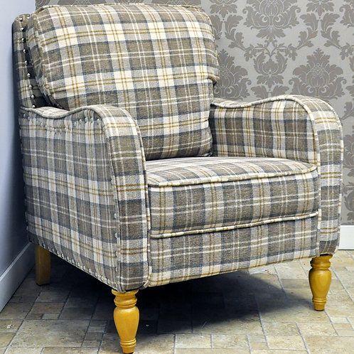 DOVE GREY CHECK FABRIC ARM CHAIR