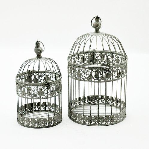 CREAM COLOUR SET 2 ROUND BIRDCAGES