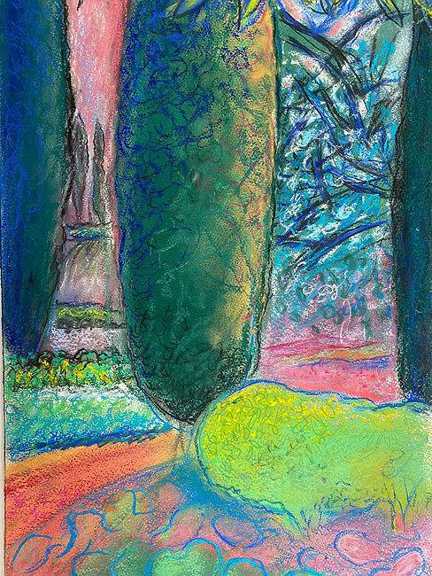 pastels de Jacques Vimard- Jardin de Bau