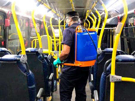 Coronavírus: ônibus são desinfectados entre as viagens em Anápolis