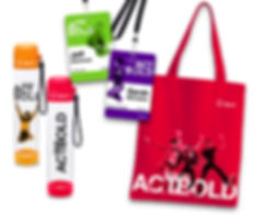 name badges, water bottles, tote, promotion items