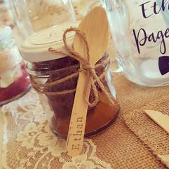 Yummy brownie cake jars for todays weddi