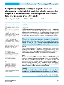 Comparative diagnostic accuracy of magnetic resonance elastography vs. eight clinical prediction rules for non-invasive diagnosis of advanced fibrosis in biopsy-proven non-alcoholic fatty liver disease: a prospective study