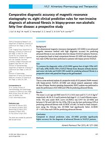 Comparative diagnostic accuracy of magnetic resonance elastography vs. eight clinical prediction rules for non-invasive diagnosis of advanced fibrosis in biopsy-proven non-alcoholic fatty liver disease: a prospective study