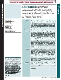 Liver Fibrosis: Noninvasive Assessment with MR Elastography versus Aspartate Aminotransferase-to-Platelet Ratio Index