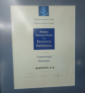 Premio Príncipe Felipe en los apartados de Competitividad Empresarial e Internacionalización.