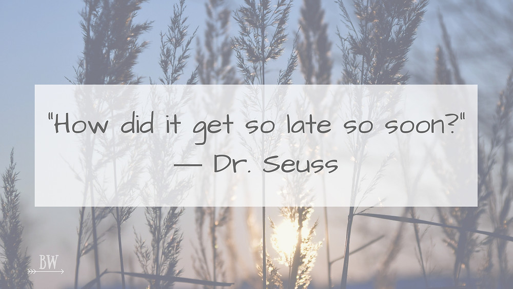 How did it get so late so soon? Dr Seuss quote