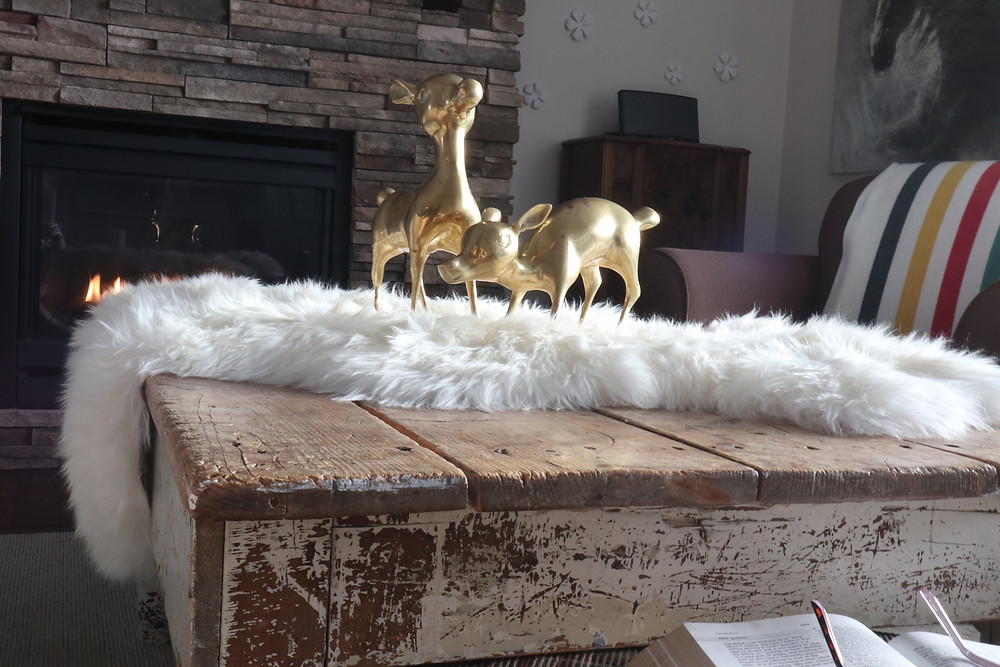rustic coffee table, sheepskin, vintage deer