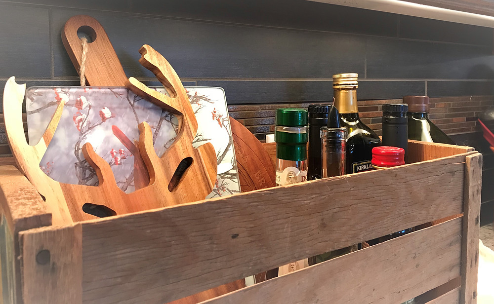 Cheese boards in a vintage crate