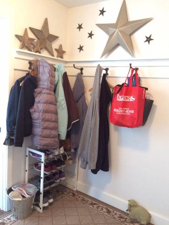 creative coat hangers and a flip-flop bucket
