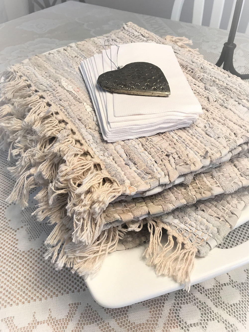 Neutral, linen placemats