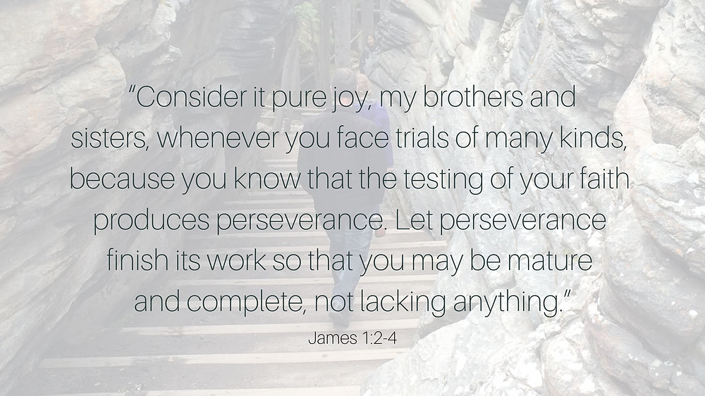 James 1:2-4 Consider is pure joy, my brothers and sisters...