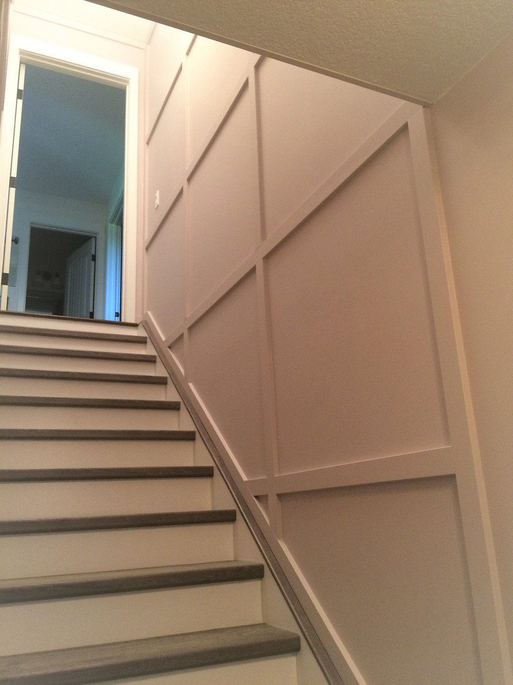 basement stairwell, Portland Grey paint colour