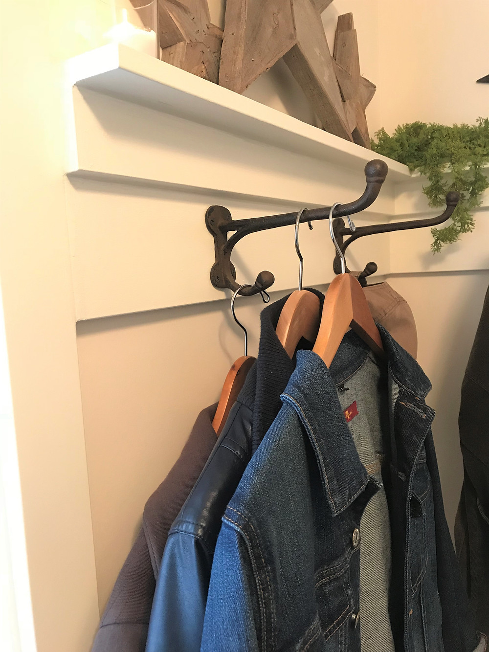 Coat racks made from trim pieces