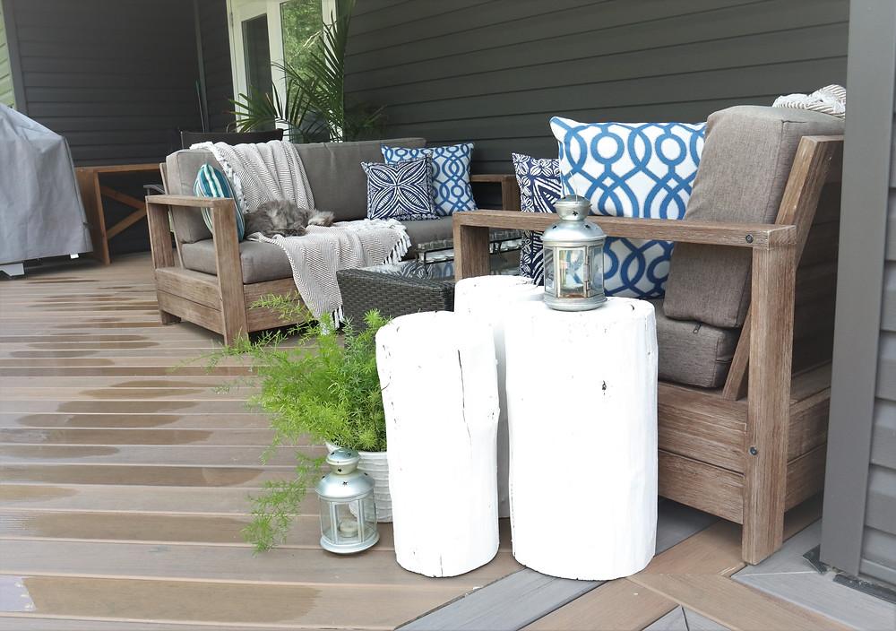 Cozy, hygge deck decor