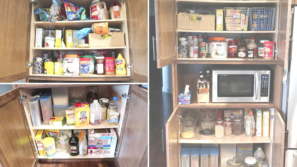 before and after, organized pantry
