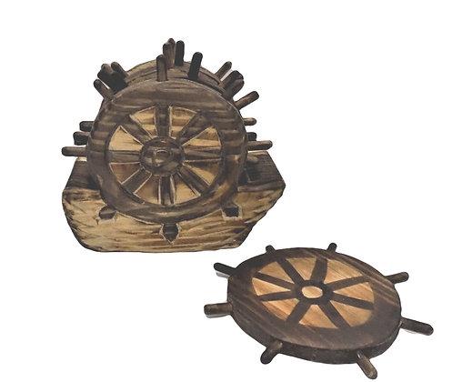 Ship Wheel Coaster Set