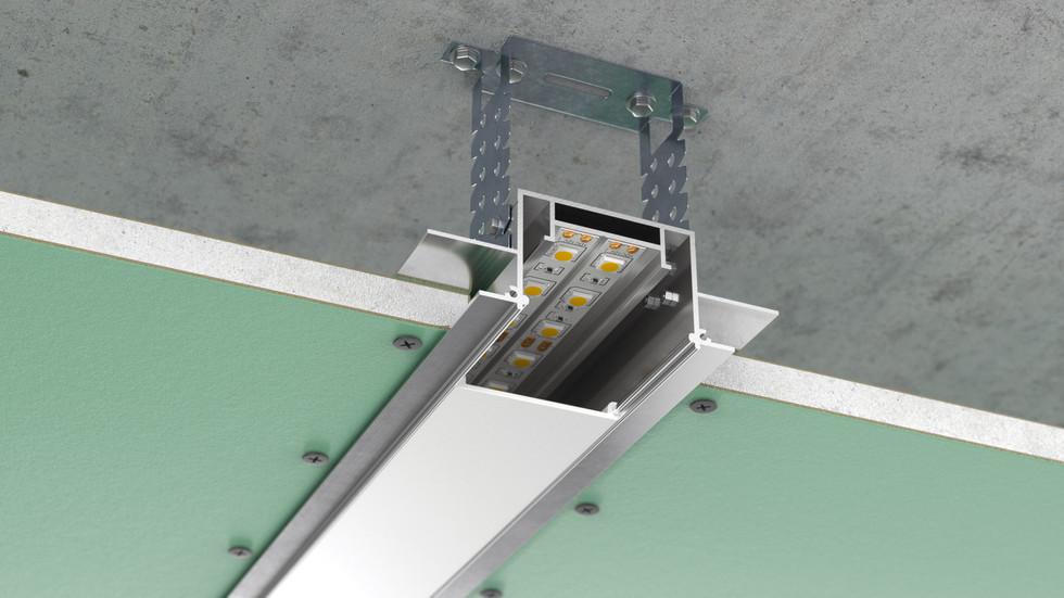 3d визуализация монтажа алюминиевого профиля