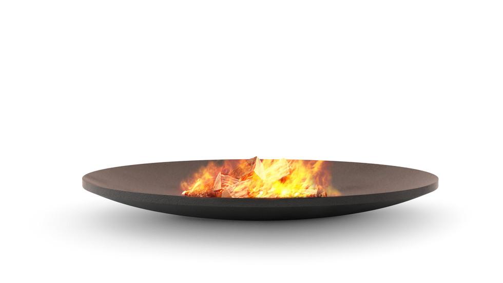 3d визуализация плоской костровой чаши с огнём