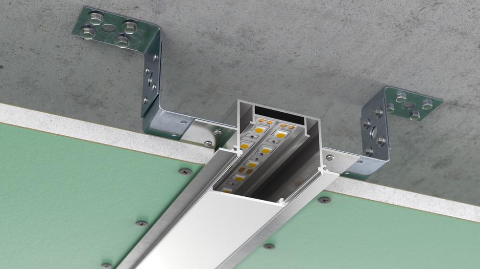 3д визуализация монтажа алюминиевого профиля с световой линией
