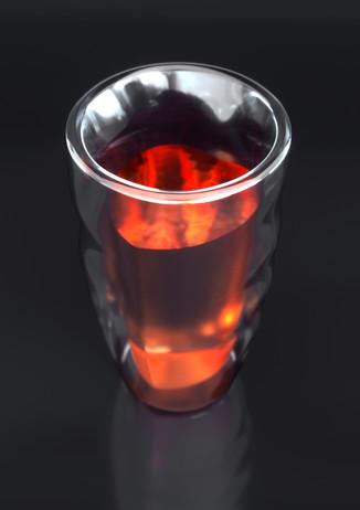 3d визуализация стакана с жидкостью