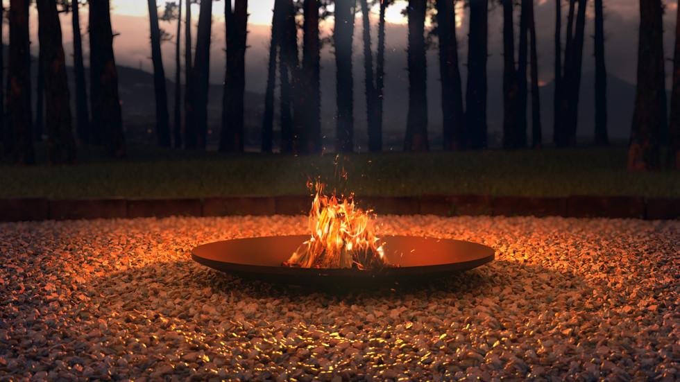 Ночная 3d визуализация костровой чаши