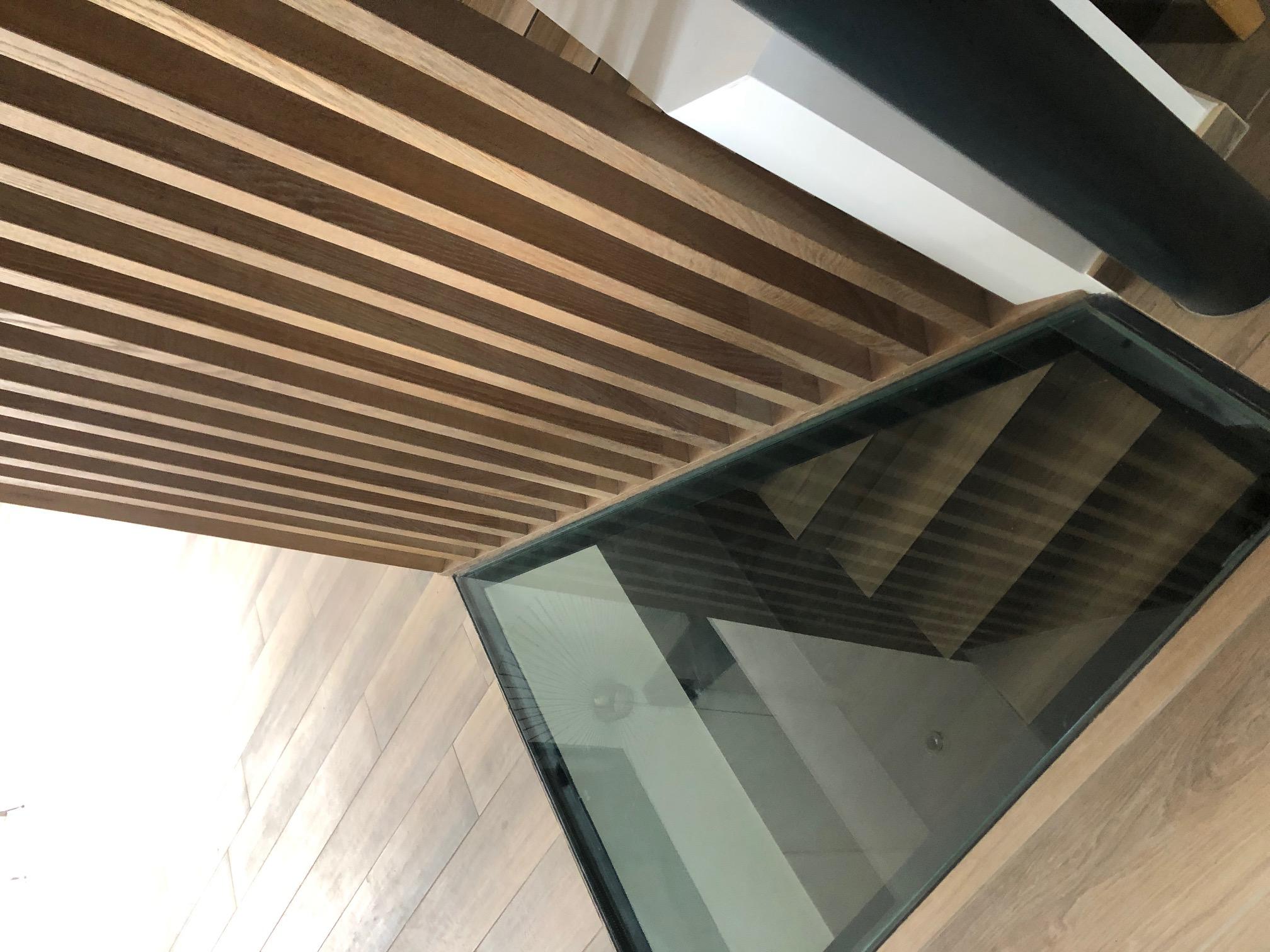 Plancher verre sur trémie escalier