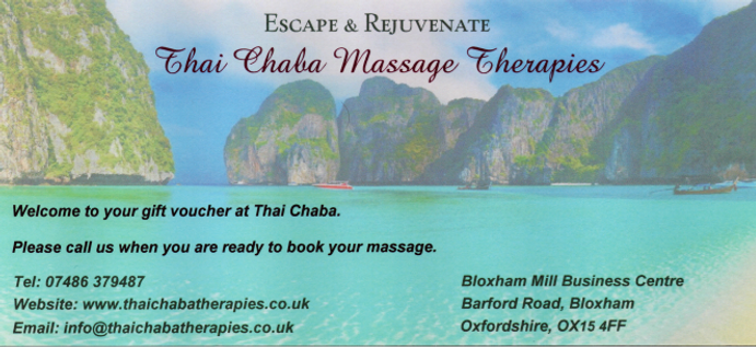 Thai massage gift voucher Banbury Oxfordshire