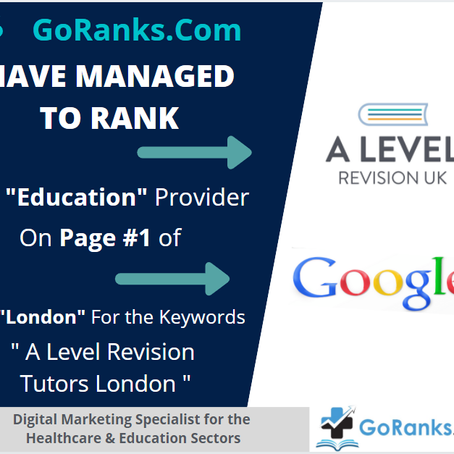 """Have Managed to Rank """" A Level Revision UK - On Page #1 of Google in London"""
