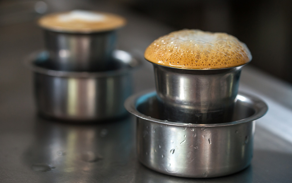 tumblers of indian filter coffee