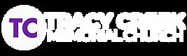 Tracy Creek Logo white 6b229e 120 x 400.