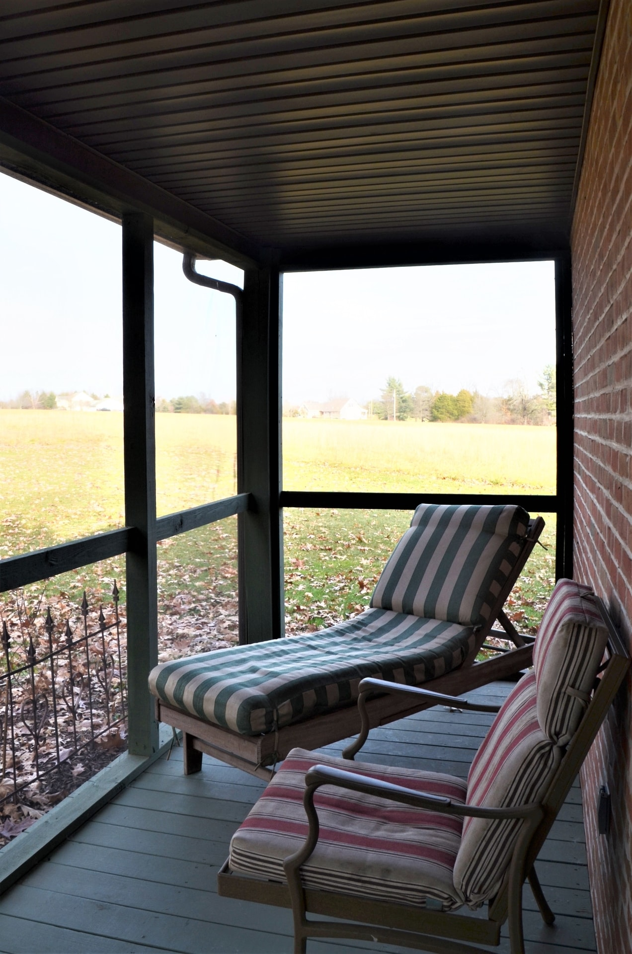 Screened porch lounging