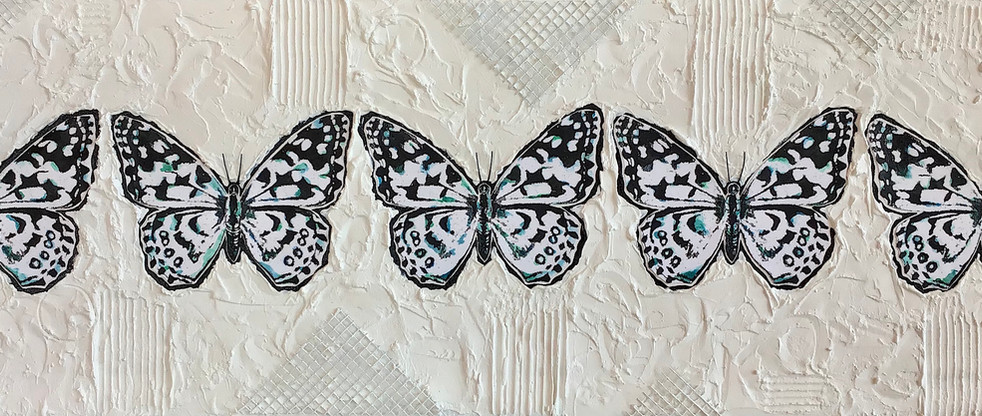 """Blue-Butterfy Day.  24"""" x 36"""" Mixed Media on Canvas.  This mixed media artwork features five pen and ink butterflies, similar, but each unique in small ways. This piece was inspired by the poem Blue-Butterfly day written by American poet Robert Frost. The ink butterflies are coated with cold wax for protection and mounted against a highly textured background of geometric shapes. Materials used include: hardware mesh, wood, texture paste, rice paper, pen and ink. The butterflies in the work are illuminated in darkness by LED strip lights mounted behind the canvas to create a different visual experience at night. Edges are painted black."""
