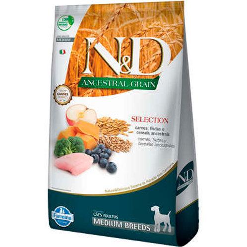 N&D Ancestral Grain Selection Carnes e Frutas para Cães Adultos Raças Médias