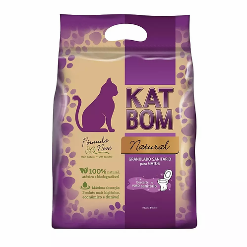 Granulado Higiênico Kat Bom Natural Para Gatos (embalagem roxa)