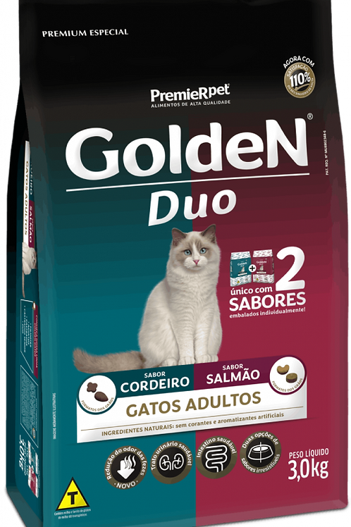 Golden Duo para Gatos Adultos Sabor Cordeiro e Salmão