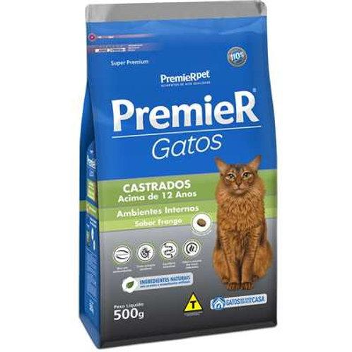 Premier Pet Ambientes Internos Gatos Castrados Acima de 12 Anos - Frango