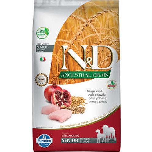 N&D Ancestral Grain Frango Cães Idosos Raças Médias