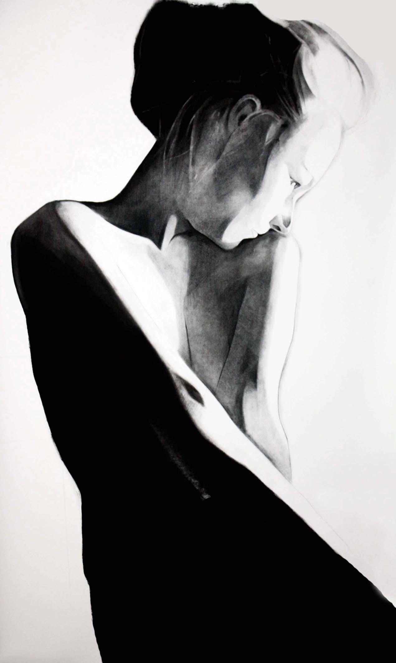 """""""3"""", 150x80cm, charcoal, 2010"""