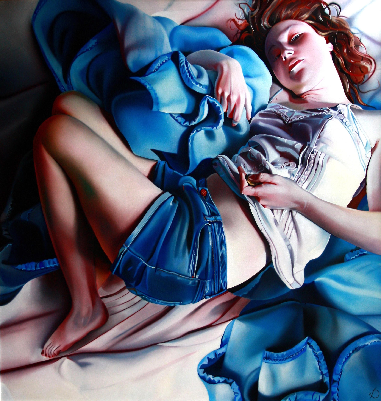 Niebieski koc, 150x150cm, oil, 2012