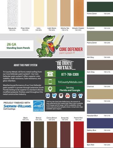 Core Standing Seam Color Chart
