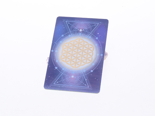 Cosmic energy card with flower of life sacred geoemetry and Lakhovsky MWO