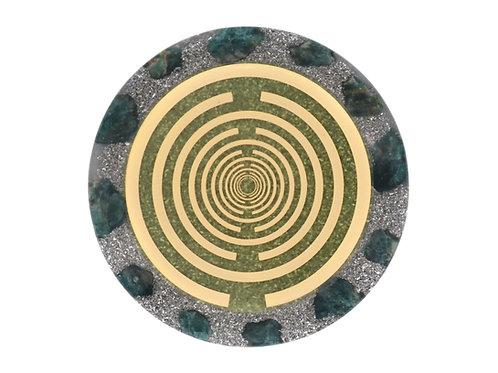 Green aventurine orgone disc of good luck abundance