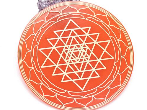 Sri Yantra gold plated coaster